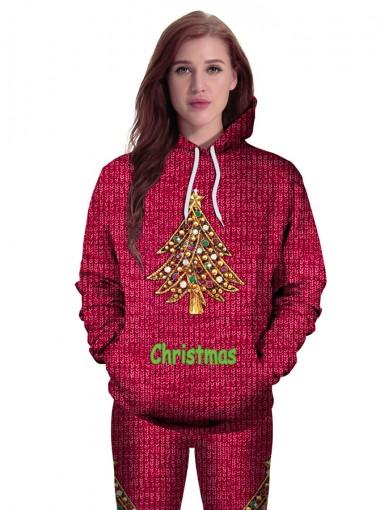 3D Christmas Tree Letter Printed Drawstring Burgundy Hooded Sweatshirt