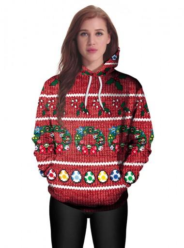 Dark Red 3D Printed Kangaroo Pocket Drawstring Textured Hooded Sweatshirt