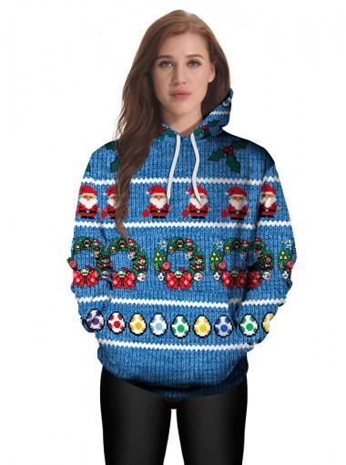 Blue 3D Printed Kangaroo Pocket Drawstring Hooded Sweatshirt