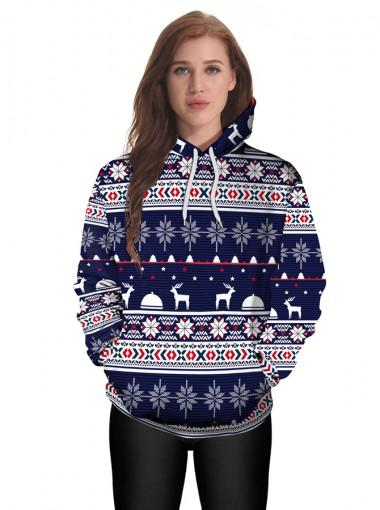 Dark Blue 3D Snowflake Printed Kangaroo Pocket Patchwork Hooded Sweatshirt
