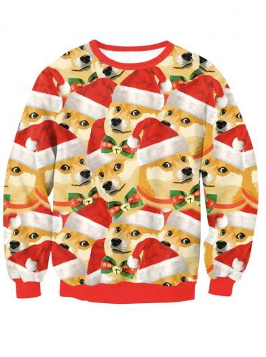 3D Printed  Doge Long Sleeve Crew Neck Pullover Sweatshirt