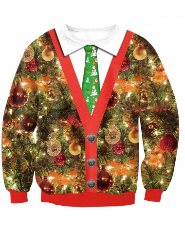 3D Printed Faked Two Piece Long Sleeve Christmas Pullover Sweatshirt