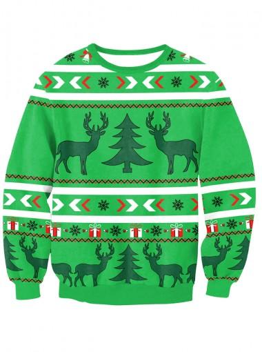 Green 3D Printed Long Sleeve Christmas Pullover Sweatshirt
