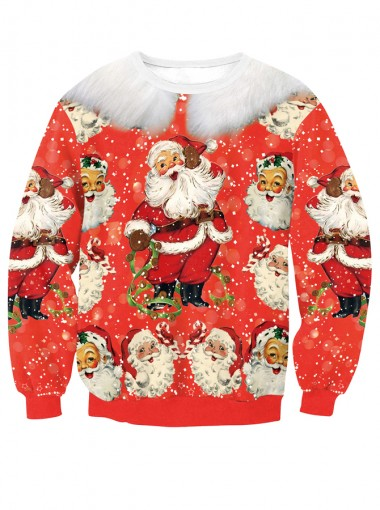 Red Santa Claus Printed Crew Neck Christmas Pullover Sweatshirt
