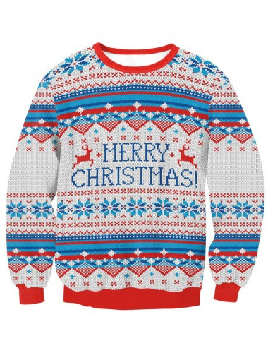 Crew Neck Long Sleeve Printed Textured Christmas Pullover Sweatshirt