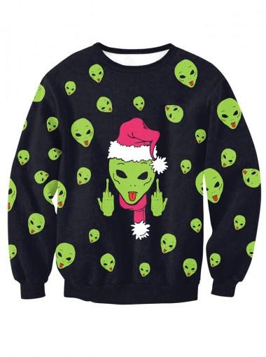 Black Crew Neck Long Sleeve Printed Christmas Sweatshirt
