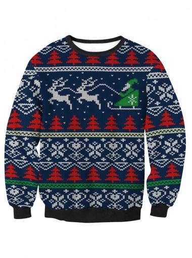 Dark Blue Printed Long Sleeve Textured Christmas Sweatshirt