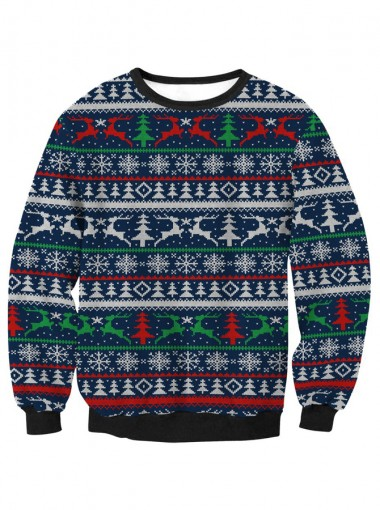 3D Printed Crew Neck Long Sleeve Textured Christmas Sweatshirt