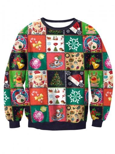 3D Printed Long Sleeve Crew Neck Christmas Pullover Sweatshirt