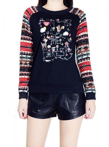 Black Printed Crew Neck Long Sleeve Christmas Sweatshirt