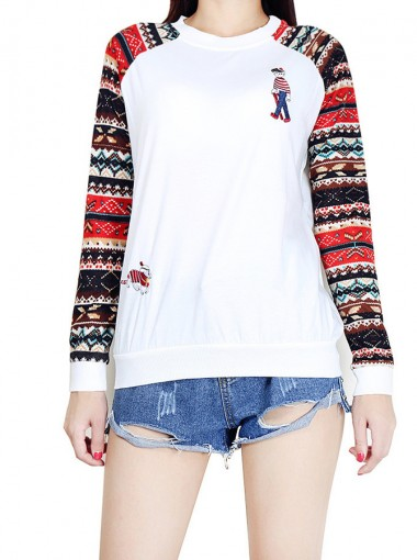 White Crew Neck Printed Long Sleeve Pullover Sweatshirt