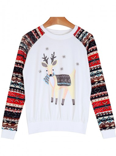 White Crew Neck Long Sleeve Reindeer Printed Christmas Sweatshirt