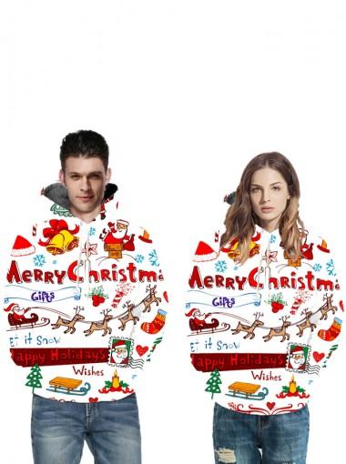 3D Printed Santa White Couple Christmas Hooded Sweatshirts