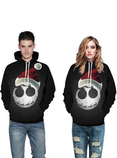 Black Kangaroo Pockets Hooded Couple Christmas Sweatshirts