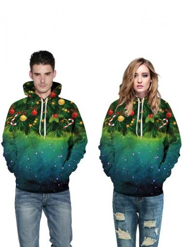 3D Printed Kangaroo Pockets Hooded Christmas Sweatshirts