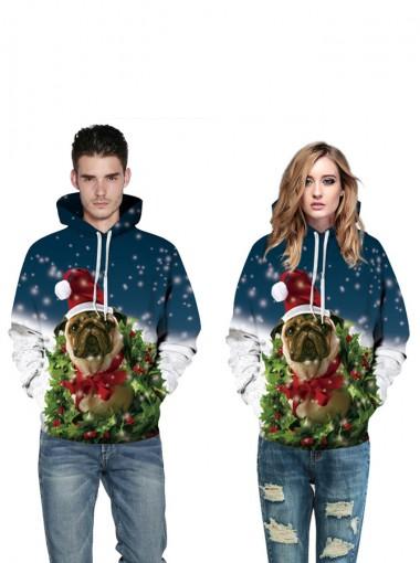3D Printed Pug Dark Blue Hooded Couple Christmas Sweatshirts