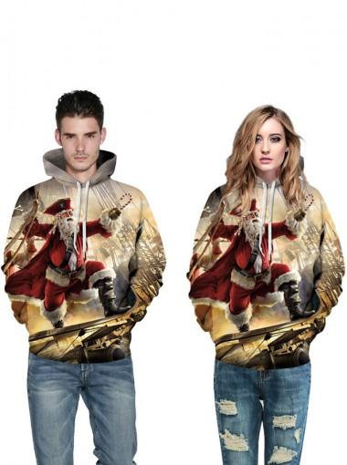 3D Printed Multi Color Hooded Couple Christmas Sweatshirts