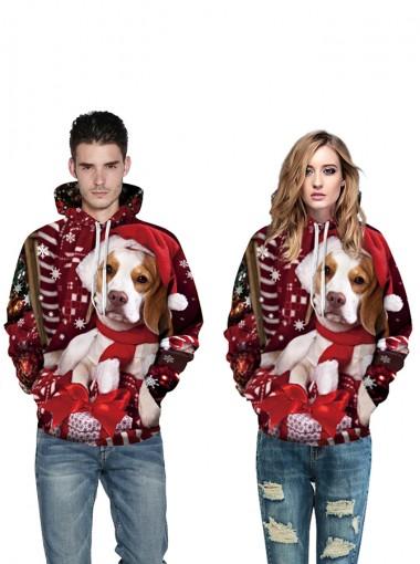 Dark Red 3D Printed Pug Hooded Couple Christmas Sweatshirts
