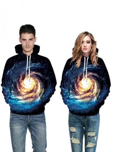 3D Printed Drawstring Hooded Couple Christmas Sweatshirts