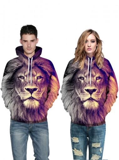 3D Printed Lion Drawstring Hooded Couple Christmas Sweatshirts