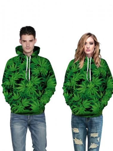 Green 3D Printed Leaves Hooded Couple Christmas Sweatshirts