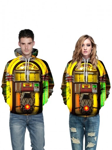 3D Printed Drawstring Hooded Couple Christmas Sweatshirts