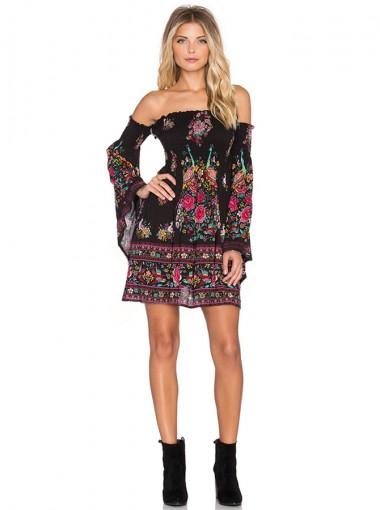 Off-the-Shoulder Flare Sleeves Short Black Floral Printed Dress