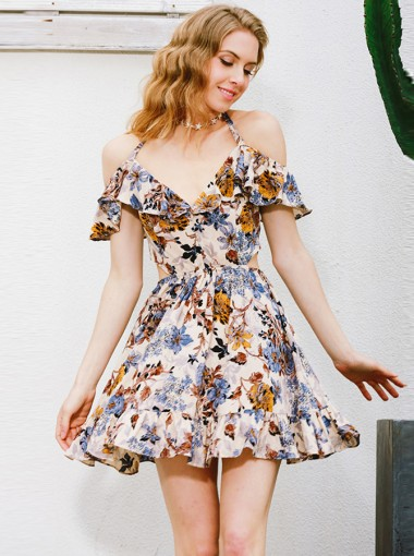 Halter Open Back Cutout Short Multi Color Floral Printed Dress