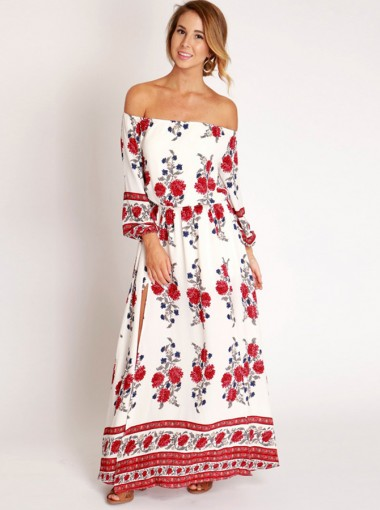 Off-the-Shoulder Long Sleeves High Side Slit Long Floral Printed Dress