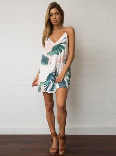 Spaghetti Straps Sleeveless White Short Tunic Feature Printed Dress