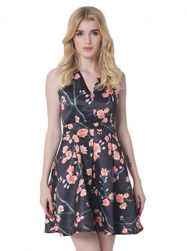 V-Neck Sleeveless Open Back Short Black Floral Printed Dress