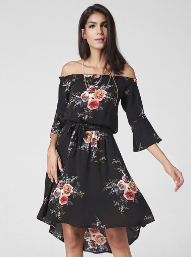 Off-the-Shoulder Flare Sleeves Asymmetrical Floral Printed Dress