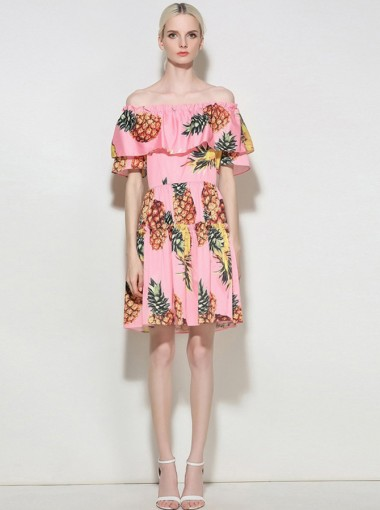 Off-the-Shoulder Half Sleeves Pink Pineapple Printed Dress