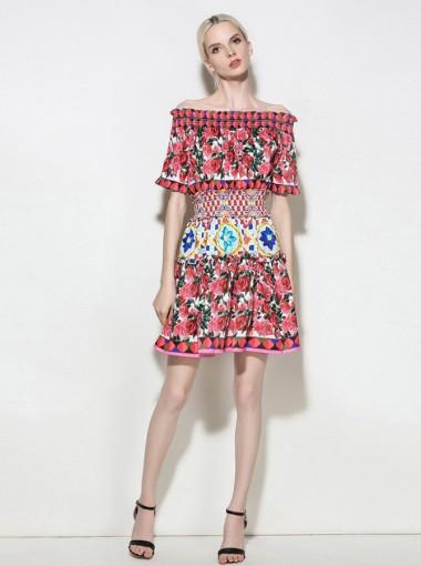 Off-the-Shoulder Short Sleeves Multi Color Floral Printed Dress