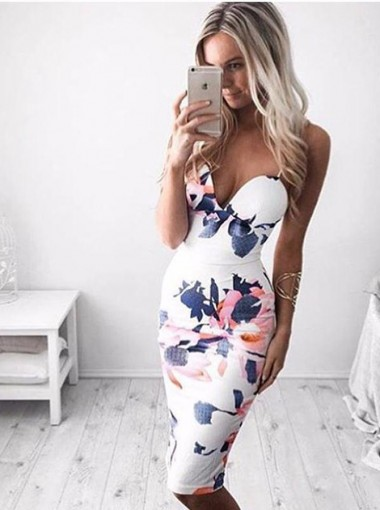 Sexy Spaghetti Straps White Bodycon Floral Printed Dress