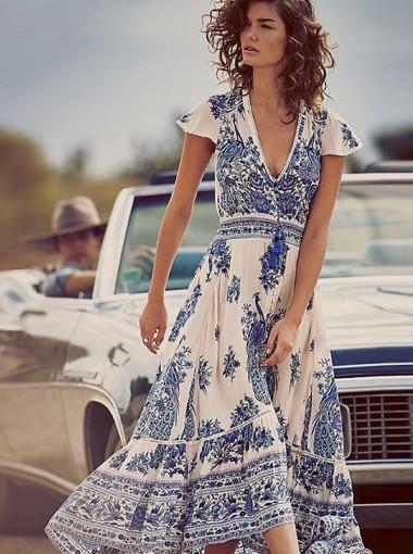 V-Neck Cap Sleeves Drawstring Retro Floral Printed Dress