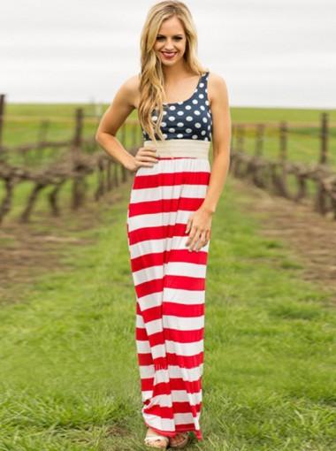 Scoop Neck Sleeveless Long Tank Stripes Printed Dress
