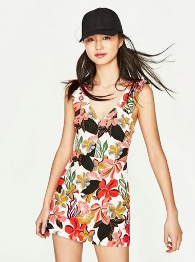 Deep V-Neck Sleeveless Short Multi Color Floral Printed Dress