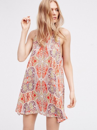 High Neck Sleeveless Open Back Short Tunic Floral Printed Dress