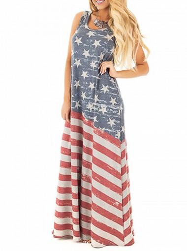 American Flag Print Patriotic Maxi Dress