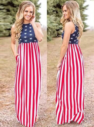 Pockets Star Striped July of 4th Maxi Dress