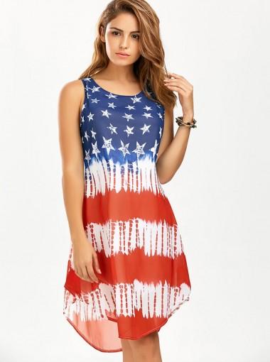 Round Neck American Flag Patriotic Short Summer Dress