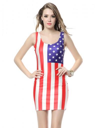American Flag Round Neck Patriotic Bodycon Dress