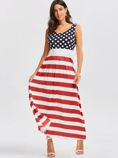 Polka Dots Striped Patriotic Maxi Printed Dress