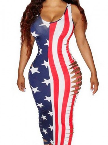 Cutout American Flag July of 4th Long Bodycon Dress