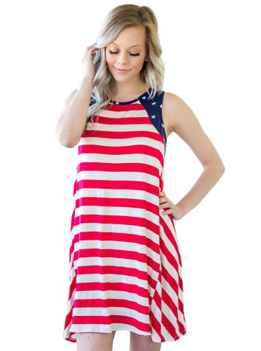 Star Striped Print Patriotic Short Cami Dress