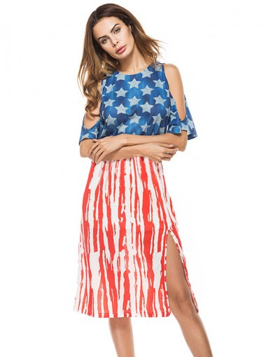Open Back Side Slit Star Print Patriotic Summer Dress