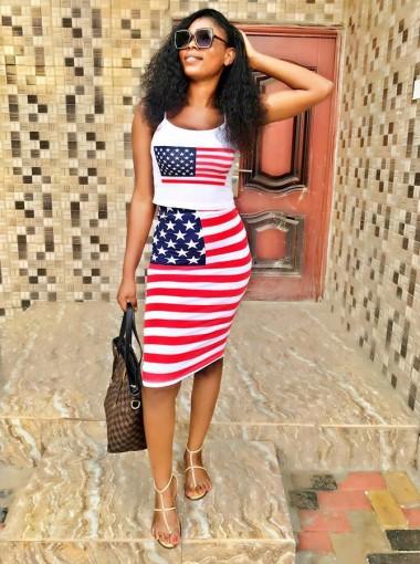 American Flag Star Striped Patriotic Bodycon Printed Slip Dress