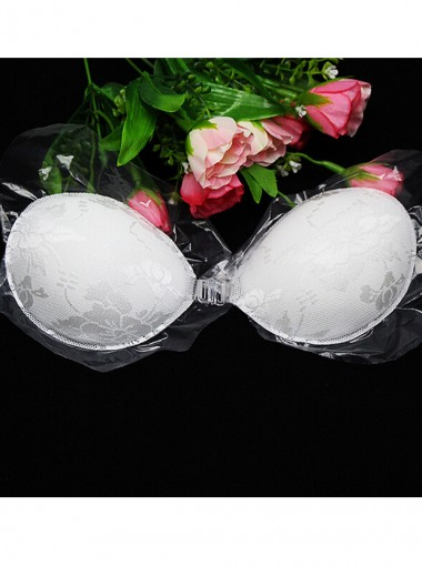 White lace silicone strapless backless push up bra for Best bra for backless wedding dress