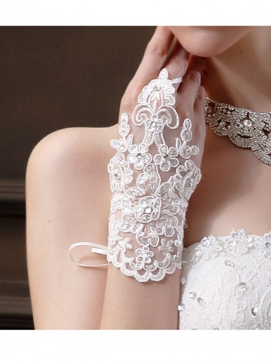 Lace Rhinestone Fingerless Gloves for Wedding Party